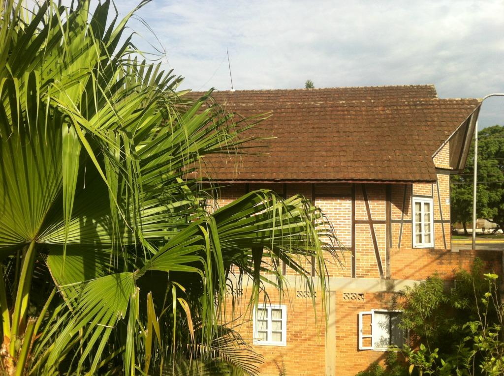 Fachwerkhäuser unter Palmen in Pomerode, Brasilien